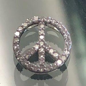 14k Gold Diamond Peace Sign Necklace Pendant